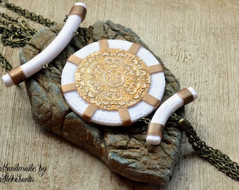 Boho pendant Boho necklace Boho jewelry White necklace pendant White jewelry Statement pendant Statement necklace jewelry Gift for her