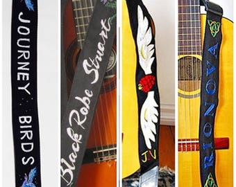 Custom Band Logo Guitar Strap Hand Embroidered/ LABOR INTENSIVE/ OOAK/  Band Request on Strap