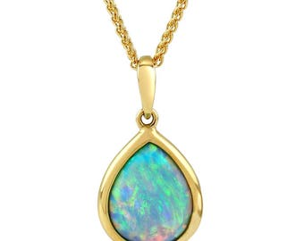 Opal Pendant Necklace, 9ct Gold with Vibrant Cultured Opal, Teardrop Shape 10x8mm - Ref: AE-GP002