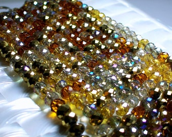 36pcs 8mm Chinese Crystal glass rondelle Bead strand Amber Glow Brown Gold Amber Faceted Jewelry Jewellery Craft Supplies