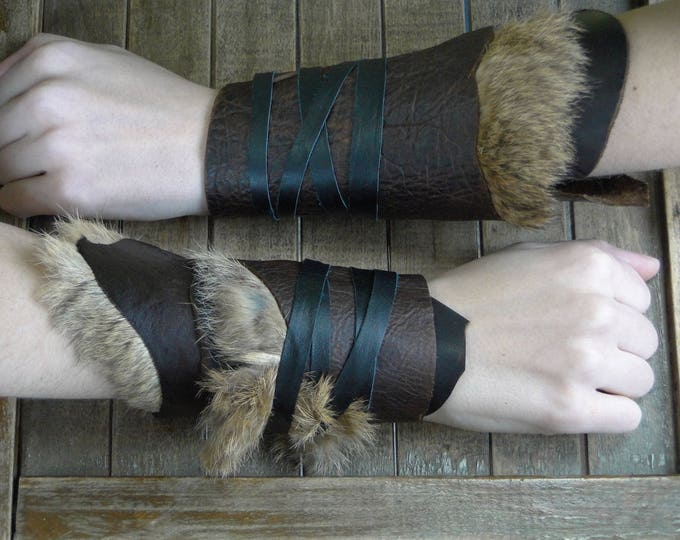 Leather Cuffs - Warrior Viking Tribal Larp Costume Cosplay - Pair #7a