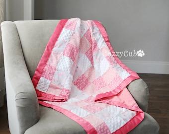 Patchwork Baby Blanket, Flannel Blanket, Baby Blanket, Baby Quit, Newborn, Swaddle Blanket, Stroller Blanket, Girl Blanket, Crib Blanket,