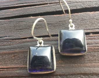 Blue and sterling square earrings