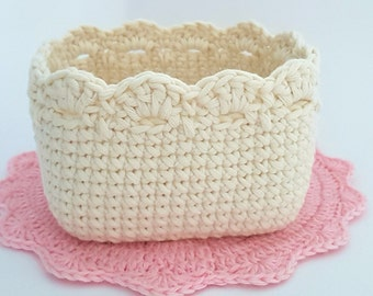 Crochet Square Basket Pattern, Crochet Basket Tutorial, Crochet Pattern 007, Instant Download