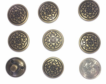 "8 Bronze Shank Metal Buttons 11/16"" inch Crafts Sewing"