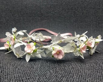 Pink and white flower crown / leafy floral hair garland / flower girls headdress / bridal crown / flower crowns for wedding / festival crown