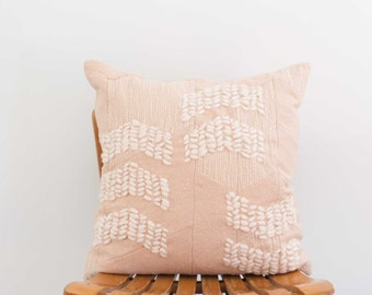 SALE! ***50% OFF*** Pale Pink Textured Geometric Wool Pillow