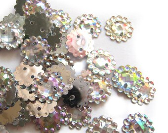 100 pcs Crystal Clear Holographic Floral Sew on Rhinestone - 2 Holes