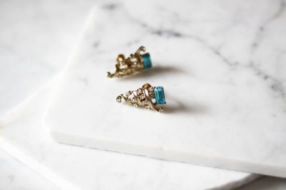 1960s gold cone earrings // 1960s blue gemstone earrings // vintage earrings