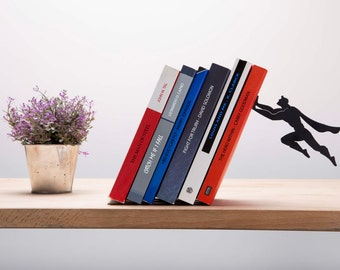 """Bookend Shaped as Superman // Metal Designed Bookends // Superhero // Cool gift // Unique Book Accessories // """"Book & Hero"""" by ArtoriDesign"""