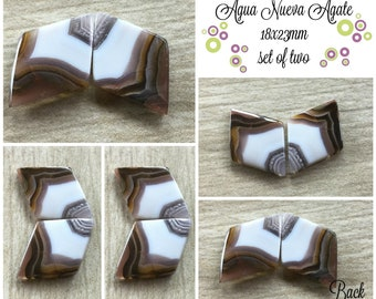 Agua Nueva Agate- 18x23mm (set of two)