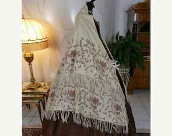 ON SALE 1850-1860 Victorian Shawl, antique shawl, antique scarf, antique wrap