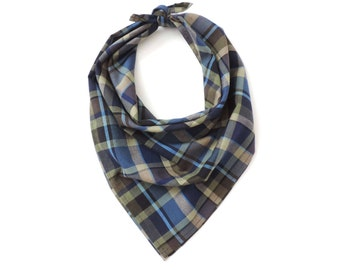 Plaid Bandana Square Scarf Cotton Blue 20""