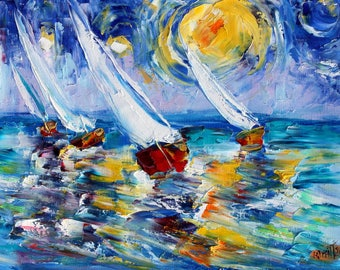 Sailing into the Starry Sky painting original oil on canvas palette knife 12x16 impressionism fine art by Karen Tarlton