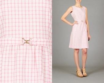 Vintage Pink + White Check Dress