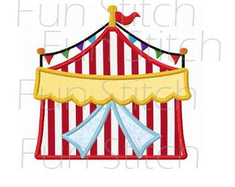 circus tent applique machine embroidery design instant download
