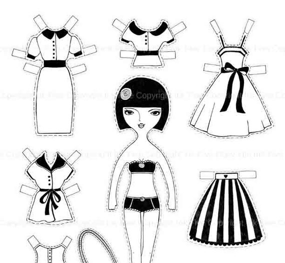 Coloring page digital paper doll Maya printable paper doll.
