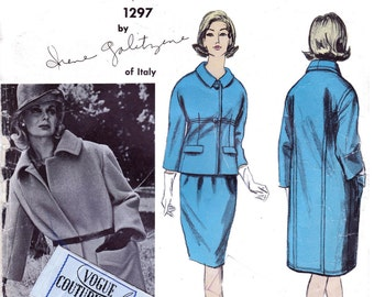 Vogue Couturier Design 1297 GALITZINE Womens Skirt Suit & Overcoat 60s Vintage Sewing Pattern Size 14 Bust 34 Inches INCLUDES LABEL