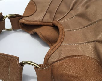 SALE Round Leather Pleated Hobo, Brown Leather Shoulder Bag, Round Leather Purse, Round Leather Brown Hobo