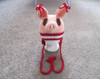 Crocheted Inspired Olivia the Pig---Costume--Fall/Winter Hat