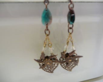 Mixed Media Metal Earrings Heart and  Flower Dangle