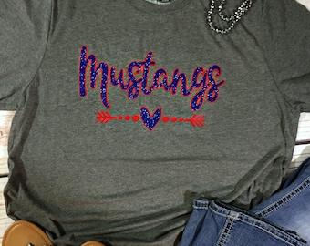 Custom School Spirit Shirt, School Spirit Tee, Personalized School Spirit Shirt, Mustangs School Shirt, Team Shirt, Sports Team Shirts