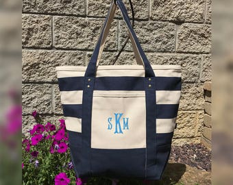 Monogram Seaside Zippered Tote, Personalized Beach Bag Tote, Monogrammed Beach Tote Bags, Personalized Canvas Tote Bag, Monogram Beach Bag