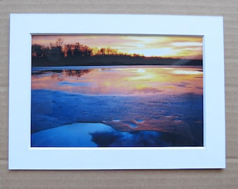 Matted 4x6 Winter Sunset Primordial Landscape Nature Print Small Wall Art Home Decor Photo