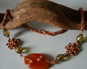 Wonderful copper necklace, Chainmaille, Carnelian / fairy jewelry