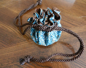 Turquoise blue and brown jewelry drawstring bag