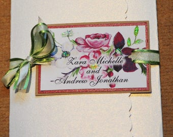 Hand Painted Blooms Collection, Wedding Invitation Custom Watercolour Wedding Hand Painted