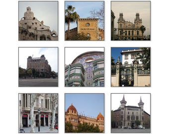 Travel Gallery, set of 9, Barcelona, Art Nouveau style building, urban wall art, Architecture Print, City, Urban