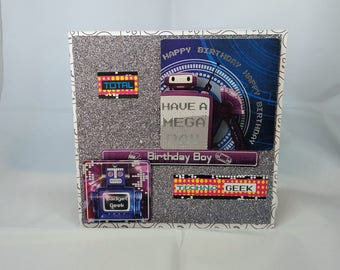 Child/Kid Birthday Card - Techno Geek - luxury unique quality special bespoke UK - Dad/Son/Uncle/Brother/Nephew