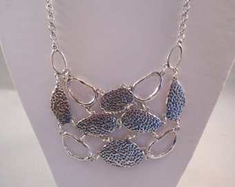 SALE Bib Necklace with Silver Tone Beads and a Silver  Tone Chain