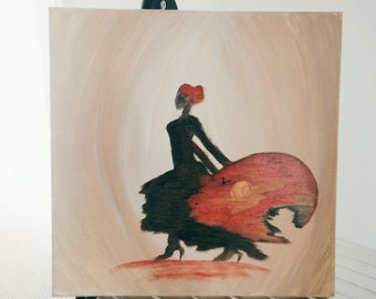 "oil painting 12""x12"" , canvas , Lady , Sunrise , modern wall art modern art , contemporary art abstract art lady sunrise"