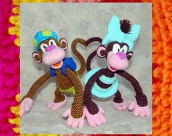 Amigurumi Pattern. Crochet Monkey Boy and Monkey Girl. Discount set. Knitting pattern. Amigurumis monkey tutorial. Funny crochet toy
