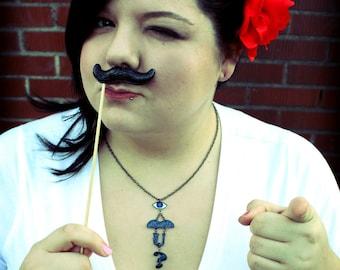 I Mustache You A Question- Black Glitter Icon Necklace