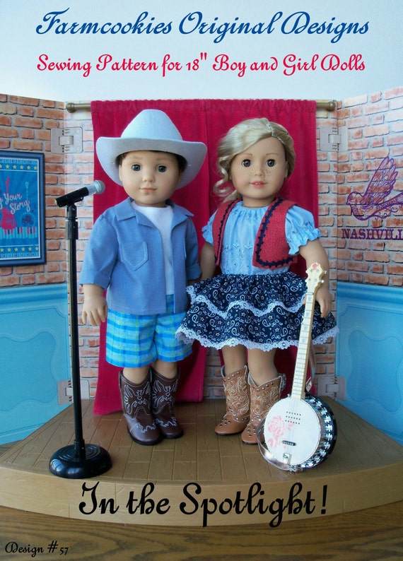 PRINTED Sewing Pattern / In the Spotlight ! / Country Style Clothes Pattern Fits American Girl Tenny and Logan
