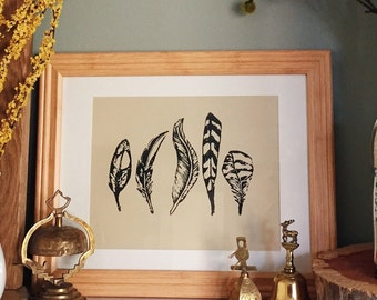Five Feathers Print