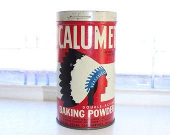 Vintage Calumet Baking Powder Tin 1 Lb Size Red Kitchen Decor