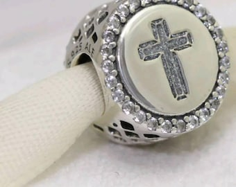 Genuine Faith Cross CZ Charm/Fully Stamped