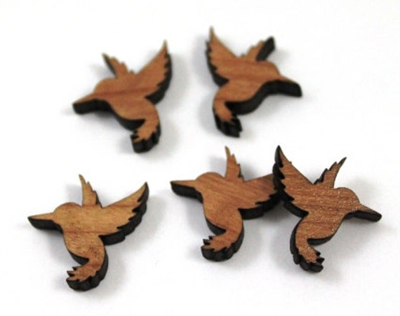 Laser Cut Supplies-8 Pieces.Humming Bird Charms - Laser Cut Wood Bird -Earring Supplies- Little Laser Lab Sustainable Wood Products