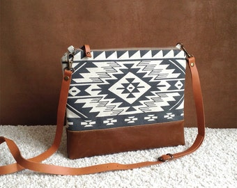 Tribal cross body bag,Bulgarian Print,Aztec bag,Boho,every day bag,leather bottom purse,Navajo,Black and White clutch,Southwest Bag,for her