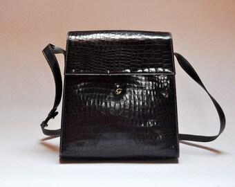 Vintage Slovenian Designer Groselj Handmade Embossed Leather Shoulder Bag