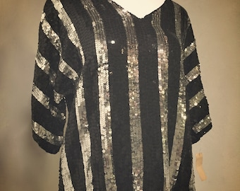 Vintage Jean for Joseph Le Bon Silver & Black Striped Sequin Blouse
