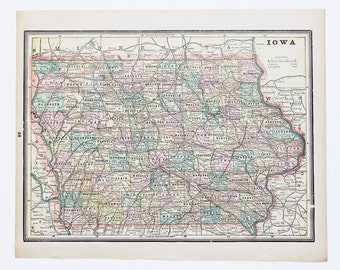 Vintage iowa map Etsy