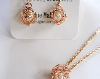 Rose Gold and Pearl Earrings, Wire Wrapped pearl, Earring Necklace Set, Wire Wrapped Set with Pearl,  Rose gold Jewelry Set