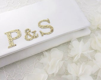 Bride and groom monogram bridal wedding clutch purse handbag