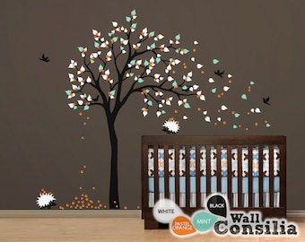 "Baby Nursery Wall Decals - Tree Wall Decal - Hedgehog Decal - Large: approx 83"" x 60"" - KC015"