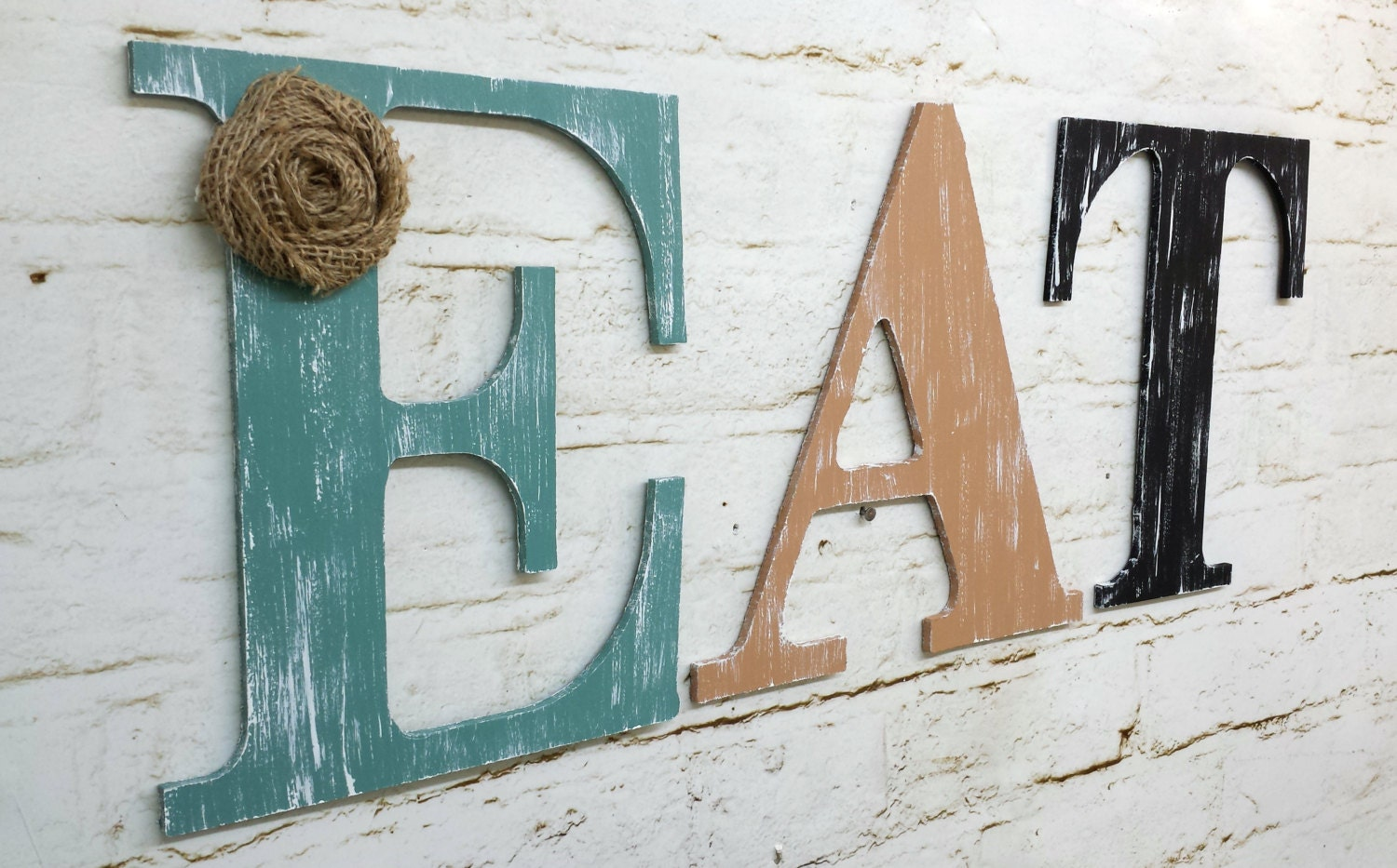 Rustic Chic Wooden Letter EAT Kitchen Home Decor Wall Hanging